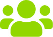 Symbol mit 3 Personen: steht für kleine Gruppen beim Deutsch Lernen